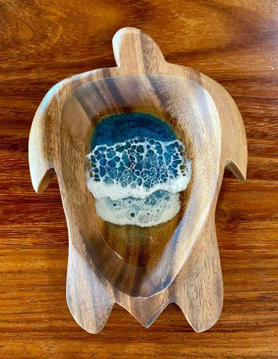 Honu Resin Ocean Wooden Bowl by Leilani Kepler - Medium Example - LKK02