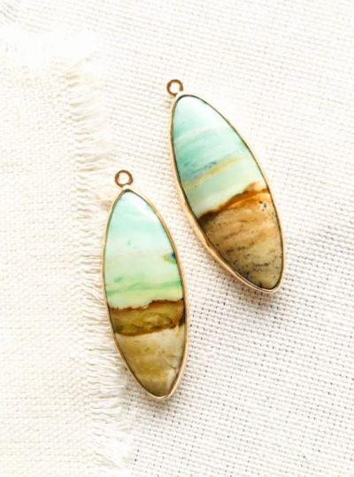 Blue Opalized Fossilized Wood Earrings by Luchia McKinnon