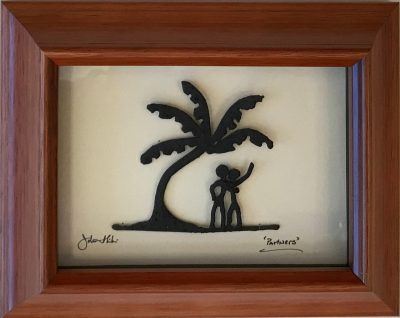 """Partners"" Bronze/Pewter Framed Shadowbox Sculpture by John Ilnicki"