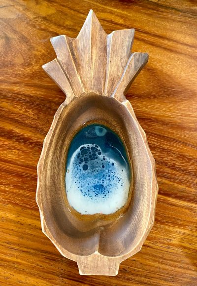 Pineapple Resin Ocean Wooden Bowl by Leilani Kepler - Example - LKK05