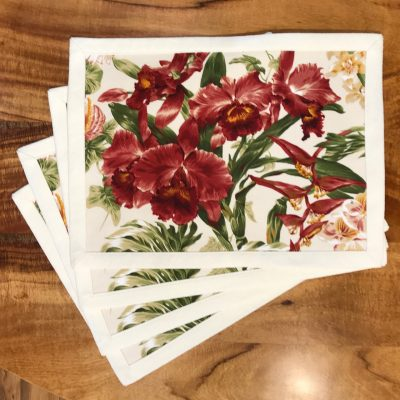 Red Leaf Lauhala Set of 4 Placemats by Bonnie Warren