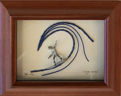 """Silver Surfer"" Bronze/Pewter Framed Shadowbox Sculpture by John Ilnicki"