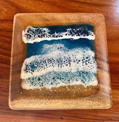 Square Resin Ocean Wooden Platter by Leilani Kepler - Example - LKK12