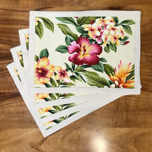 Tropical Hibiscus Set of 4 Placemats by Bonnie Warren