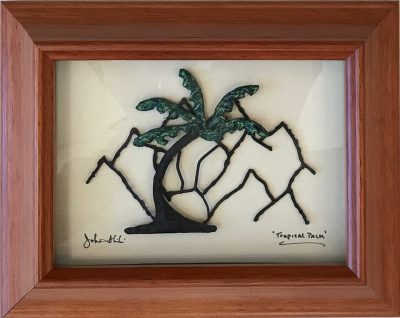 """Tropical Palm"" Bronze/Pewter Framed Shadowbox Sculpture by John Ilnicki"