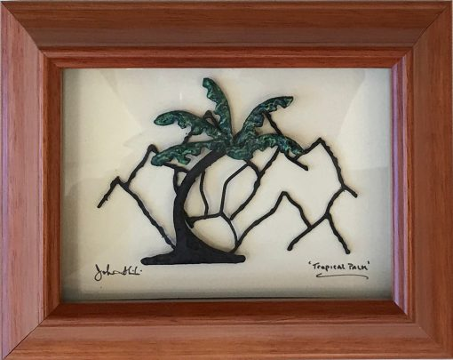 """""""Tropical Palm"""" Bronze/Pewter Framed Shadowbox Sculpture by John Ilnicki"""