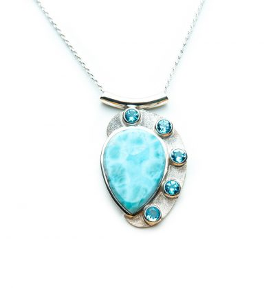 Larimar and Blue Topaz Sea Horse Necklace by Yasha - YAS575N