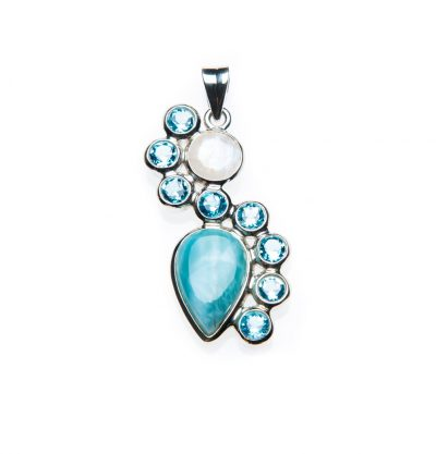 Curved Larimar, Moonstone, and Blue Topaz Necklace by Yasha - YAS594N