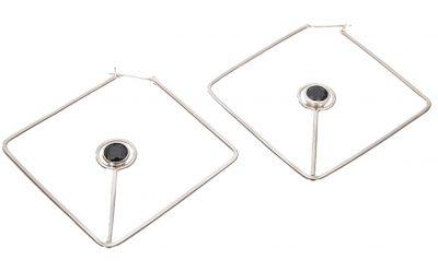 Labradorite Open Angle Hoop Earrings by Yasha - YAS604E