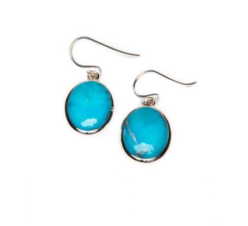 Oval Turquoise Dangle Earrings - YAS613E