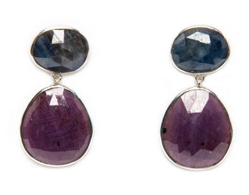 Blue Sapphire and Ruby Slice Dangle Earrings by Yasha - YAS618E