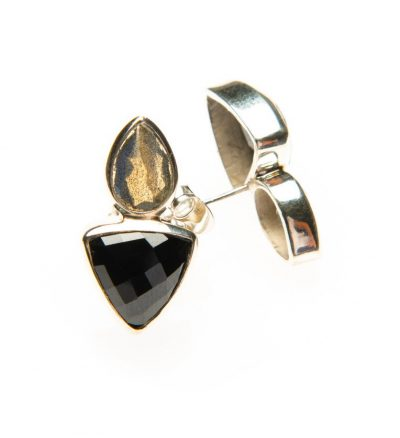 Labradorite and Black Spinel Mystic Double Gem Studs by Yasha - YAS619E