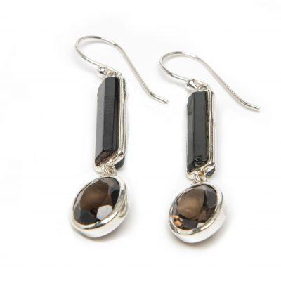 Tourmaline and Smoky Quartz Exclaim Dangle Earrings by Yasha - YAS620E