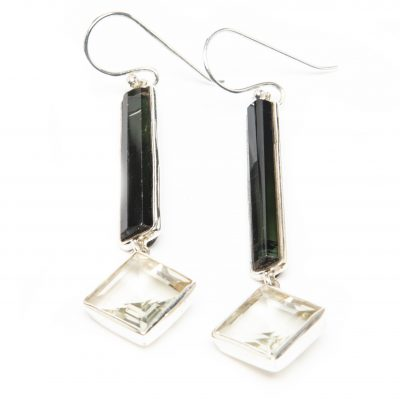 Tourmaline and Faceted Crystal Exclaim Dangle Earrings by Yasha - YAS621E