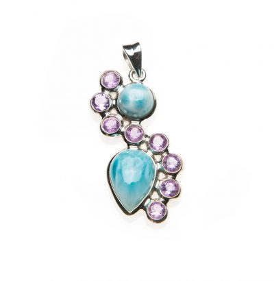 Curved Larimar and Amethyst Pendant by Yasha - YAS633P