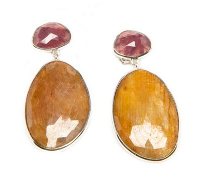 Ruby and Yellow Sapphire Slice Dangle Earrings by Yasha - YAS651E