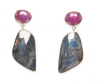 Ruby and Blue Sapphire Slice Dangle Earrings by Yasha - YAS652E