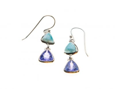 Larimar and Tanzanite Double Drop Earrings by Yasha - YAS656E