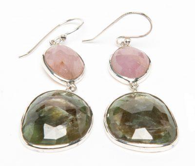 Pink Sapphire and Emerald Slice Dangle Earrings by Yasha - YAS659E