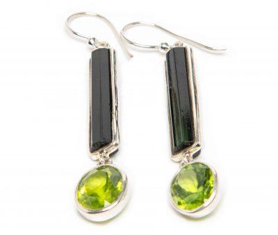 Dark Green Tourmaline and Peridot Exclaim Dangle Earrings by Yasha - YAS660E