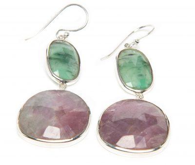 Emerald and Pink Sapphire Slice Dangle Earrings by Yasha - YAS662E