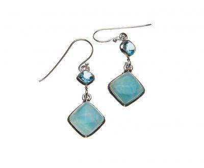 Blue Topaz and Larimar Drop Earrings - YAS666E