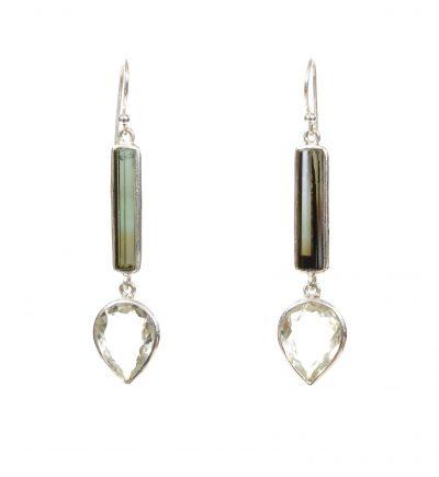 Tourmaline and Green Amethyst Exclaim Dangle Earrings by Yasha - YAS623E