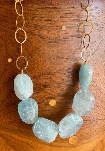 aquamarine Nugget Necklace by Amata Jewelry - AMAN10AQUA