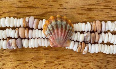 Puka Shell Bracelet by Kanna McCann - 3 Strand Small White with Sunrise Shell - PANK1488-M