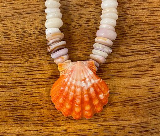 "Puka Shell Necklace by Kanna McCann - 17"" with Sunrise Shell Drop - PANK1477-M"
