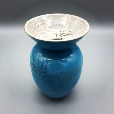 Turquoise Raku Vase, Bowl Edge by Brooke Auchincloss - BAU012