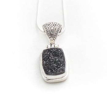 Black Druzy Necklace by Alison Wahl - Stellar Jewels - AWA141