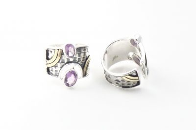 Double Amethyst Ring by Alison Wahl - Stellar Jewels - AWA208