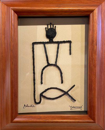 """Fisherman"" Bronze/Pewter Framed Shadowbox Sculpture by John Ilnicki - JI34"