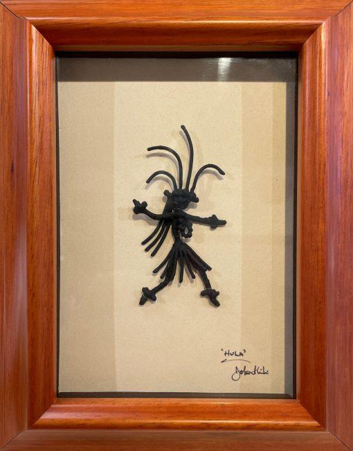 """Hula Wahine"" Bronze/Pewter Framed Shadowbox Sculpture by John Ilnicki - JI36"