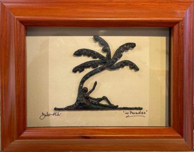 """In Paradise"" Bronze/Pewter Framed Shadowbox Sculpture by John Ilnicki - JI57"