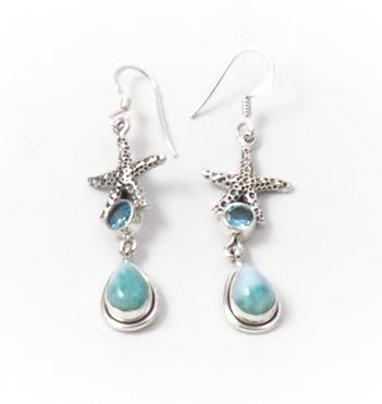 Larimar Topaz Starfish Earrings by Alison Wahl - Stellar Jewels - AWA227