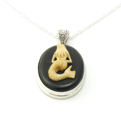Mermaid Cameo Necklace by Alison Wahl - Stellar Jewels - AWA226