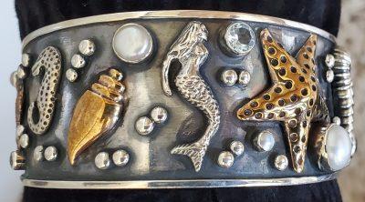 Mermaid Starfish Cuff Bracelet by Alison Wahl - Stellar Jewels - AWA222