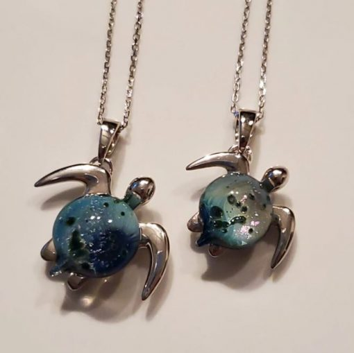 """Sterling Silver """"Akoni"""" Sea Turtle Pendant by Amy WakingWolf - Large and Small Options"""