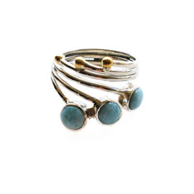 Triple Larimar Ring by Alison Wahl - Stellar Jewels - AWA203