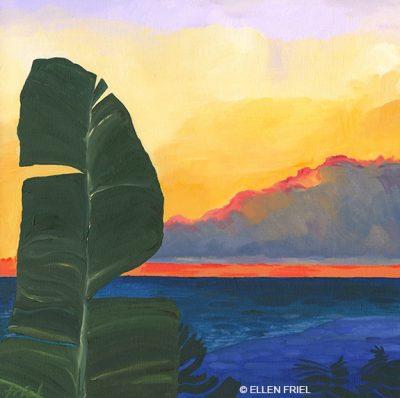"""""""Palm Sunset Banana Leaf"""" by Ellen Friel"""