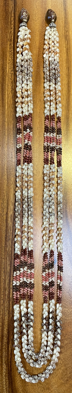 "Niʻihau Collectors' Lei, 44""/46""/48"" 3-Strand Kipona with 14K Gold Clasp by Corey Karleen - Full Length - PANC1055"